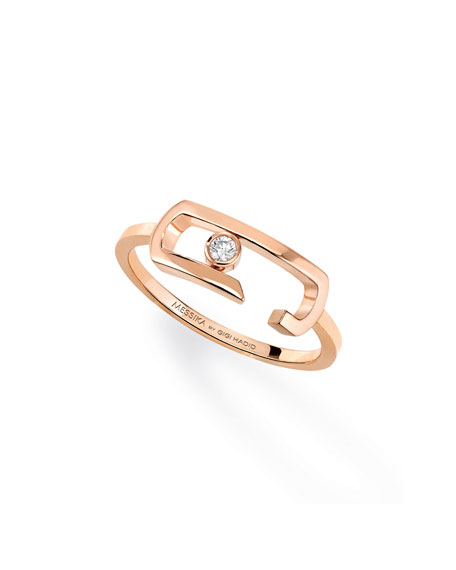 Move Addiction Diamond Bezel Ring in 18K Pink Gold, Size 54