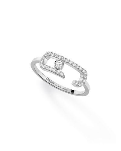 Move Addiction Diamond Pave & Bezel Ring in 18K White Gold, Size 54