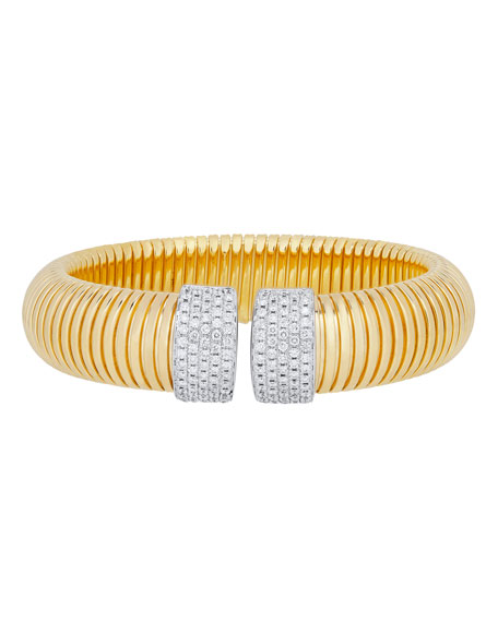 Tubogas Wide 18K Gold Bracelet with Diamonds