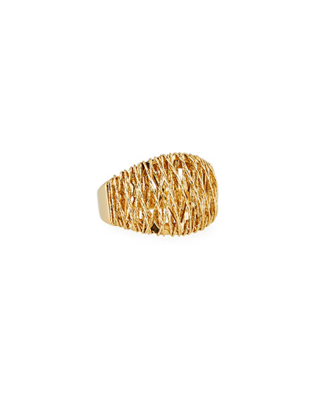 18K Gold Domed Mesh Ring