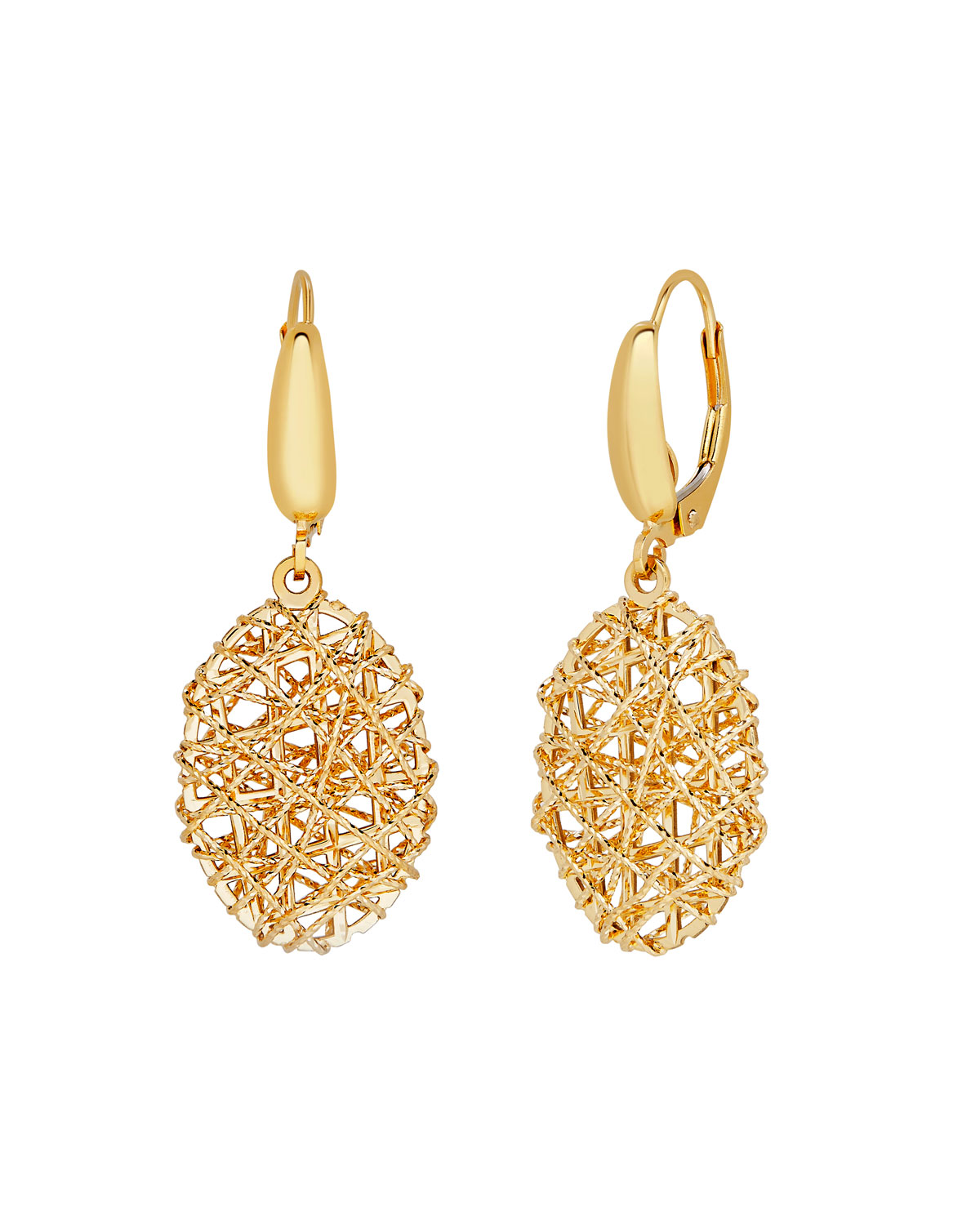18k Gold Mesh Oval Drop Earrings