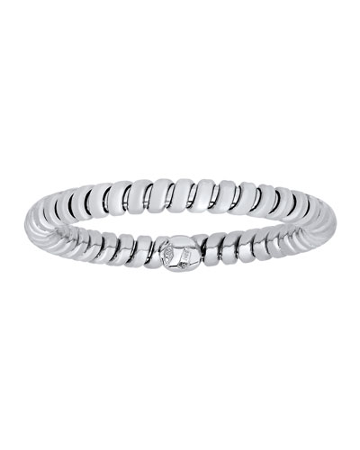 Tubogas 18K White Gold Band Ring, Size 7