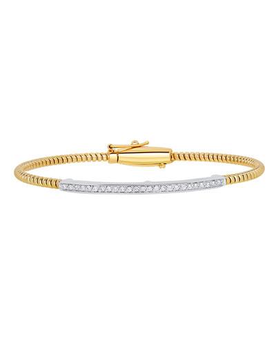 Tubogas 18K Gold Bracelet with Channel-Set Diamond Bar