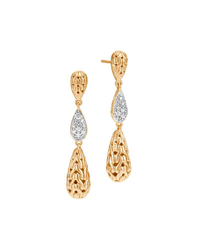 Classic Chain 18K Three-Drop Earrings with Diamonds