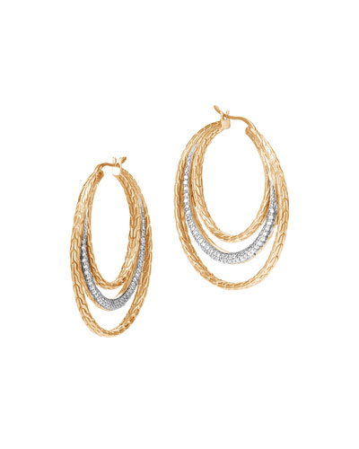 Classic Chain 18K Multi-Hoop Earrings with Diamonds