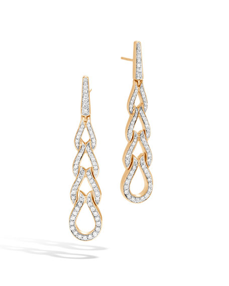John Hardy 18k Classic Chain Diamond Wave Earrings WfroOQ1
