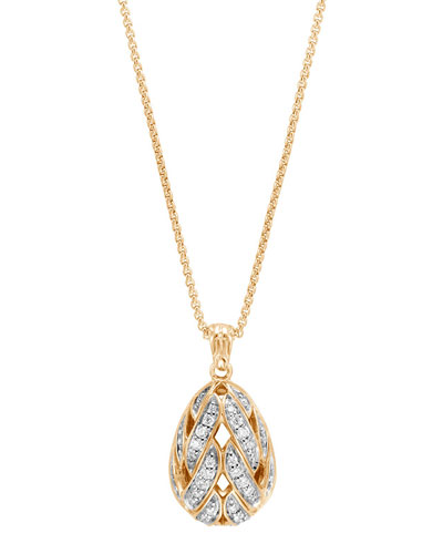 Classic Chain 18K Gold Teardrop Pendant Necklace with Diamonds