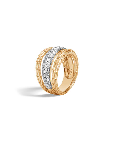 Classic Chain 18k Pave Diamond Ring, Size 7