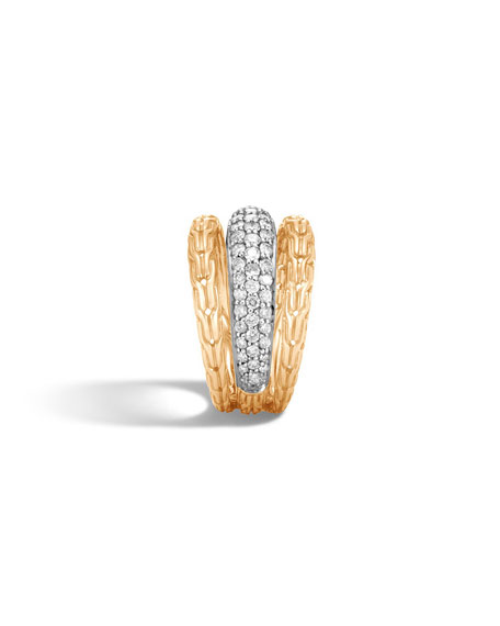 Classic Chain 18k Pave Diamond Ring, Size 6