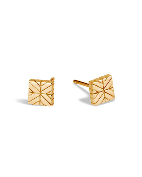 Modern Chain 18K Square Stud Earrings