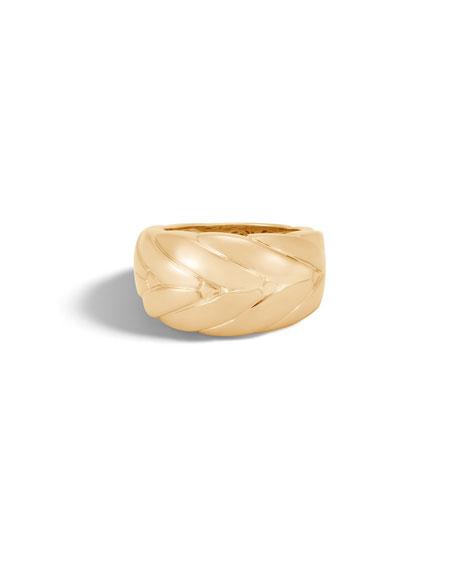 Modern Chain 12.5mm 18k Gold Ring, Size 6