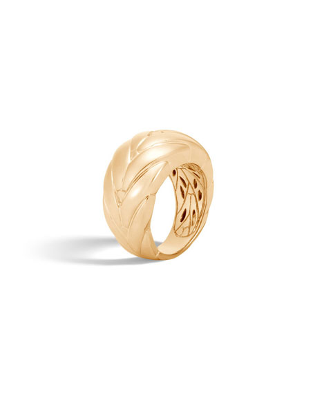 Modern Chain 12.5mm 18k Gold Ring, Size 6
