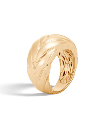 Modern Chain 12.5mm 18k Gold Ring, Size 7