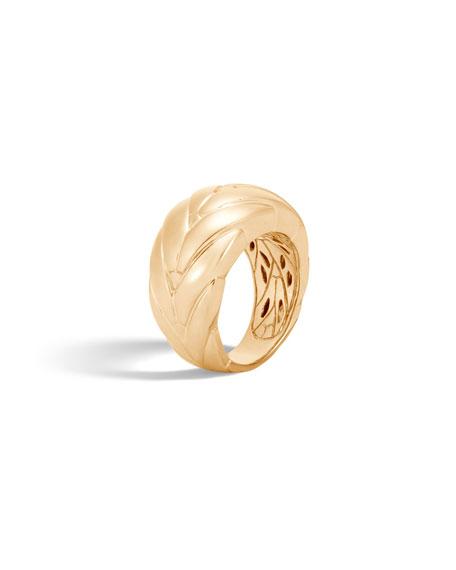 Modern Chain 12.5mm 18k Gold Ring, Size 8