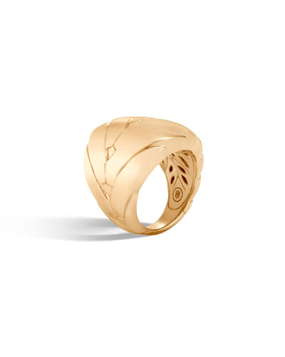 Modern Chain 24mm 18k Gold Ring, Size 6