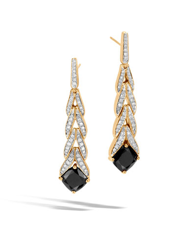 Modern Chain Magic Cut 18k Drop Earrings with Onyx & Diamonds