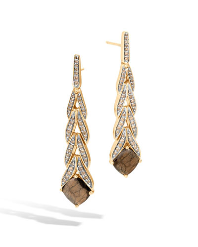 Modern Chain Magic Cut 18k Drop Earrings with Golden Sheen Sapphire & Diamonds