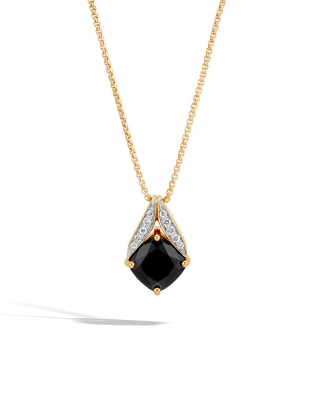 Modern Chain Magic Cut 18k Necklace with Black Onyx & Diamonds, 16""