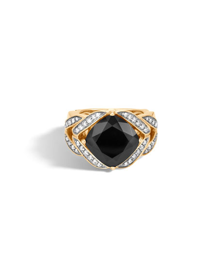 Modern Chain Magic Cut 18k Ring with Onyx & Diamonds, Size 6