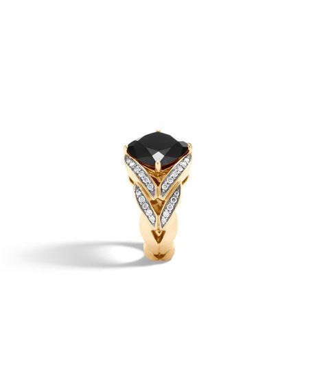 Modern Chain Magic Cut 18k Ring with Onyx & Diamonds, Size 7