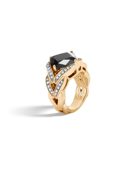 Modern Chain Magic Cut 18k Ring with Onyx & Diamonds, Size 8