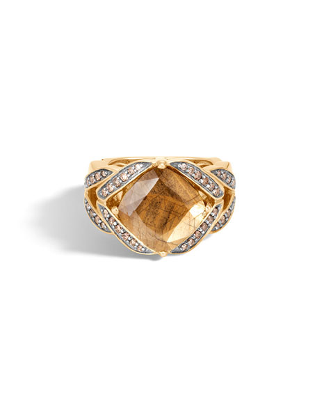 Modern Chain Magic Cut 18k Ring with Golden Sheen Sapphire & Diamonds, Size 8