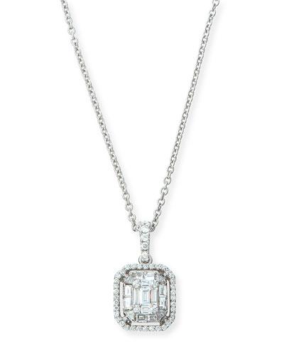 Mosaic Emerald Illusion Diamond Pendant Necklace