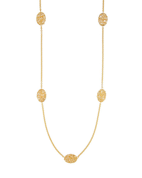 Oval Mesh Station Necklace in 18K Gold, 30""