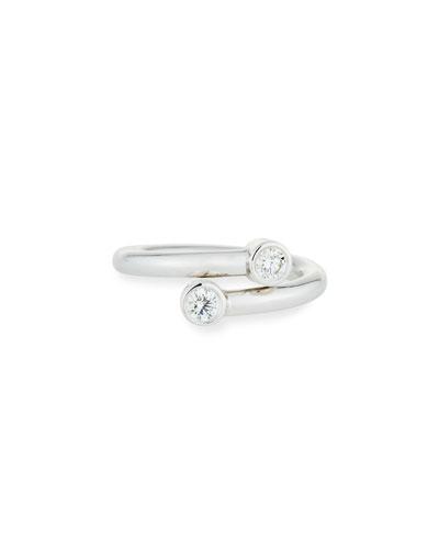 Diamond Bezel Bypass Ring in 18K White Gold, Size 6