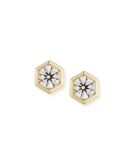 Hexagon Diamond Bezel Stud Earrings