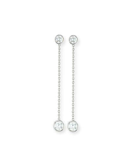 Operetta Diamond Chain Drop Earrings in 18K White Gold