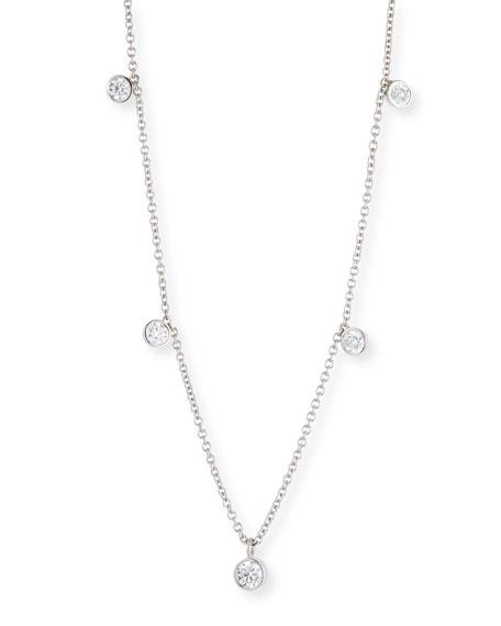 Dangling Diamond Bezel Necklace in 18K White Gold