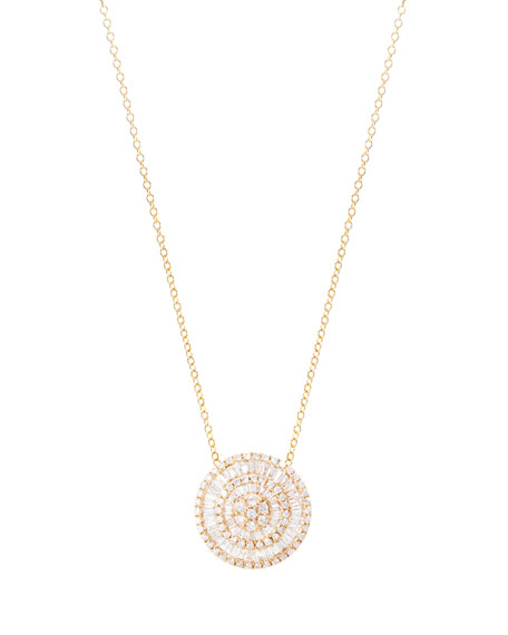 Large Diamond Pizza Necklace in 18K Gold