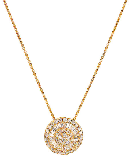 Medium Diamond Pizza Necklace in 18K Gold