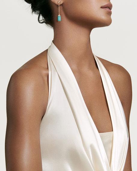 Amazonite Barrel & Diamond Drop Earrings