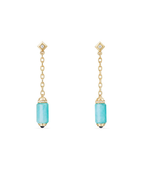Amazonite Barrel & Diamond Drop Earrings
