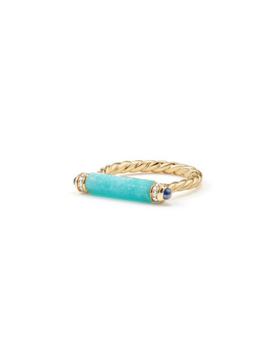 Barrels 18K Amazonite Ring with Diamonds & Sapphires, Size 6