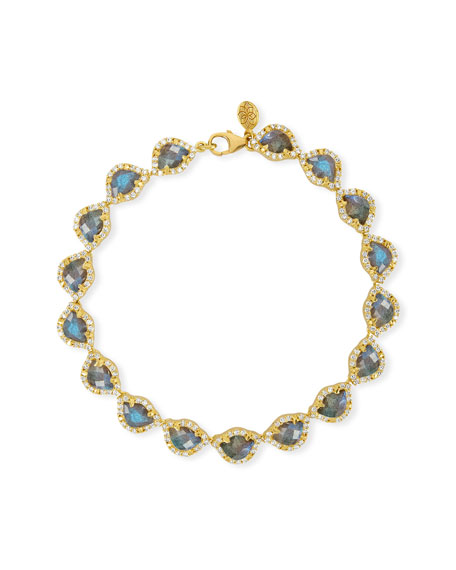 Kamalini Lotus Link Bracelet with Labradorite & Diamonds