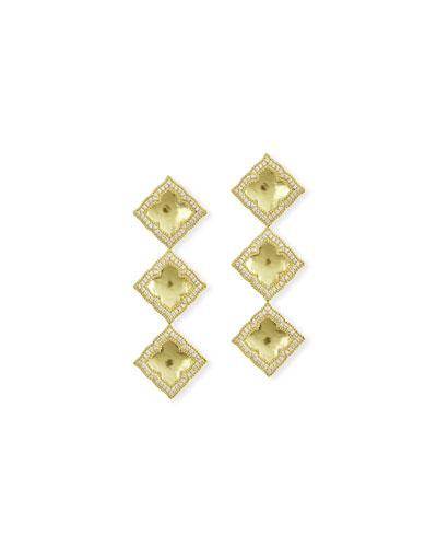 Triple Panashri Drop Earrings with Diamonds