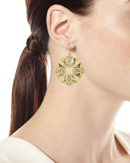 Kaliyana Lotus Labradorite & Diamond Drop Earrings