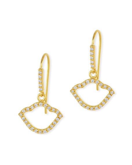 Nalika Lotus Silhouette Drop Earrings with Diamonds