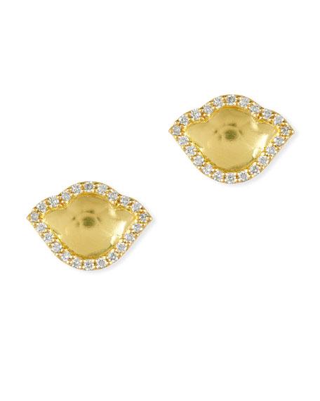 Nalika Lotus `8k Gold Stud Earrings with Diamonds