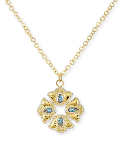 Kaliyana Lotus Pendant Necklace with Diamonds