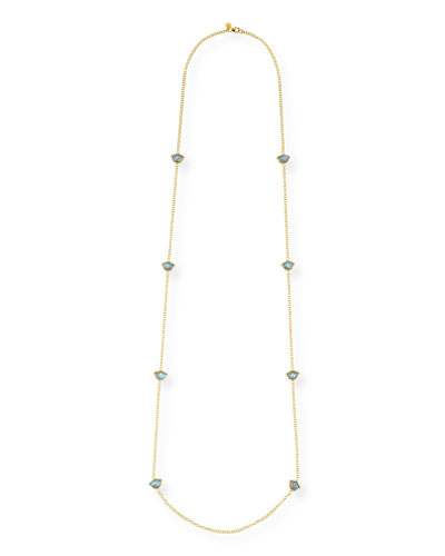 Nalika Lotus Station Necklace with Labradorite & Diamonds