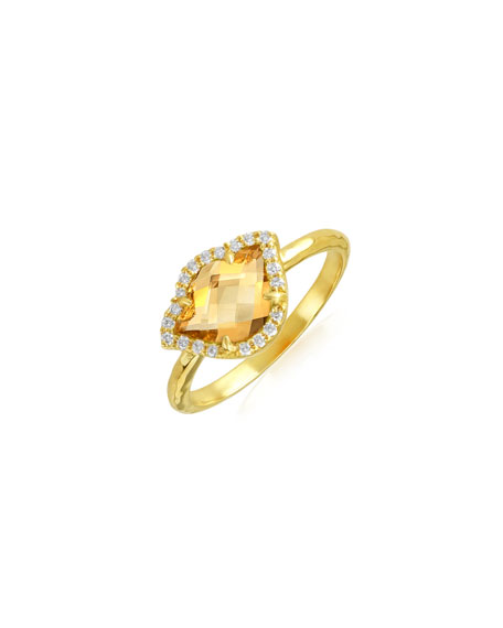 Nalika Lotus Stack Ring with Citrine & Diamonds
