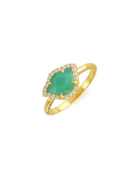 Nalika Lotus Stack Ring with Mint Chrysoprase & Diamonds