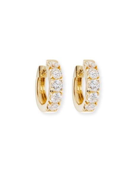 Wide Huggie Diamond Hoop Earrings