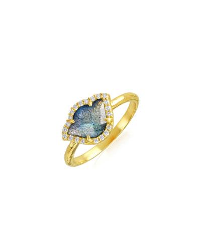 Nalika Lotus Stack Ring with Labradorite & Diamonds