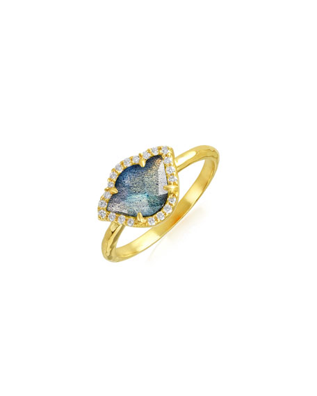 Nalika Lotus Stack Ring with Labradorite & Diamonds