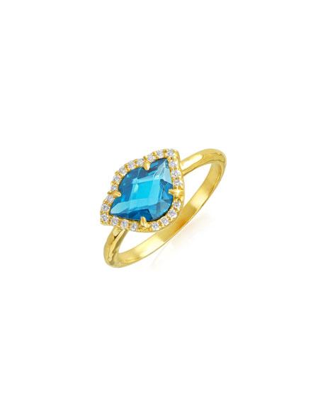 Nalika Lotus Stack Ring with London Blue Topaz & Diamonds